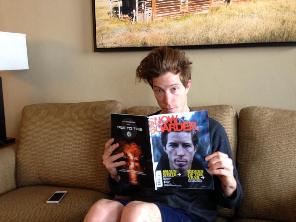 Things got meta for Shaun White as he read an issue of Snowboarder magazine with his photo on the cover. Source: Twitter user shaun_white