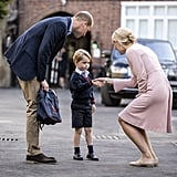 He looked on with pride as George handled his first day of school like a pro.