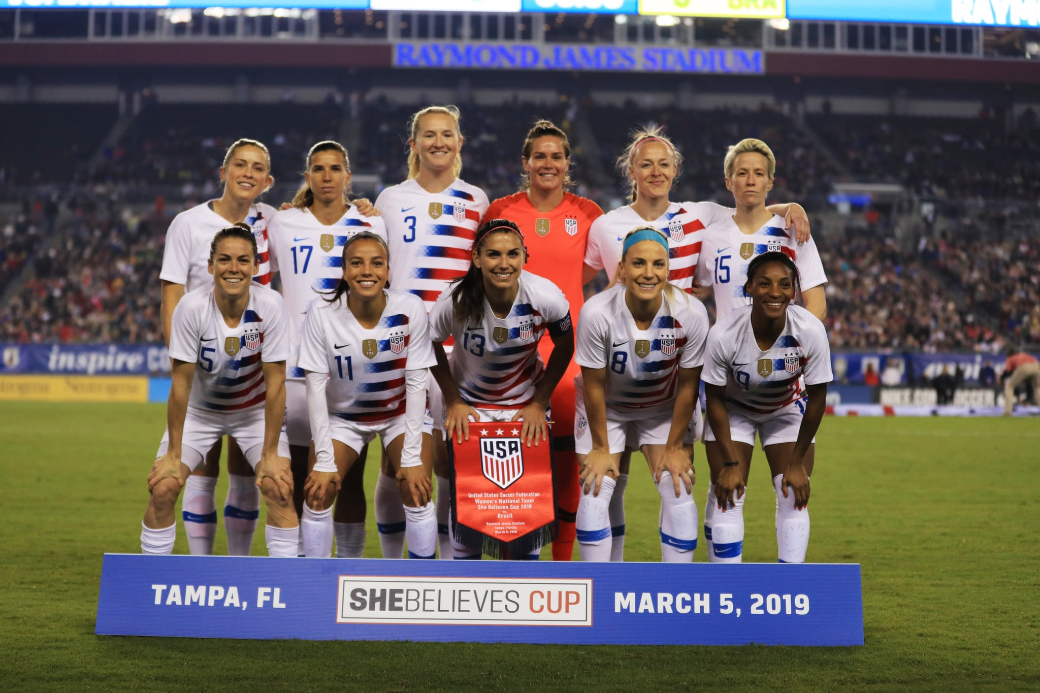 TAMPA, FLORIDA - MARCH 05: The USA Women's National team poses before a game against Brazil during the She Believes Cup at Raymond James Stadium on March 05, 2019 in Tampa, Florida. (Photo by Mike Ehrmann/Getty Images)