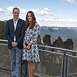 Kate got quite the view at Australia's Echo Point, wearing Diane Von Furstenberg's blue-and-white print dress.