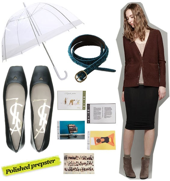Urban Outfitters Clear Bubble Umbrella ($18), Anthropologie Bakerloo Belt ($20, originally $32), T by Alexander Wang Mercerized Cotton Cardigan ($194), Yves Saint Laurent Love 05 Ballerinas ($473), Opening Ceremony x New York Art Book Fair Book Covers ($25)