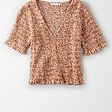 American Eagle Smocked Ruffle Top