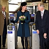 Kate toured a subway station in London with Queen Elizabeth II on March 20, 2013.