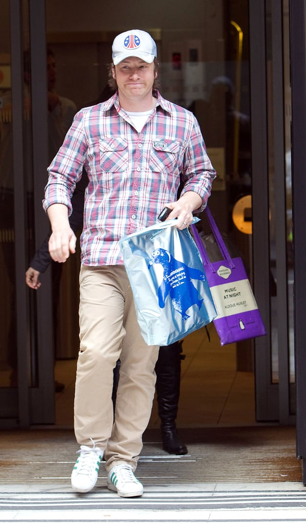 Photos of Jamie Oliver at Radio 2 in London Where He Pledged Millions of His Own Money To Help Children Eat Healthily