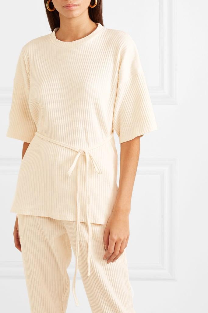Baserange Shaw Wrap-Effect Ribbed Organic Cotton-Fleece T-Shirt