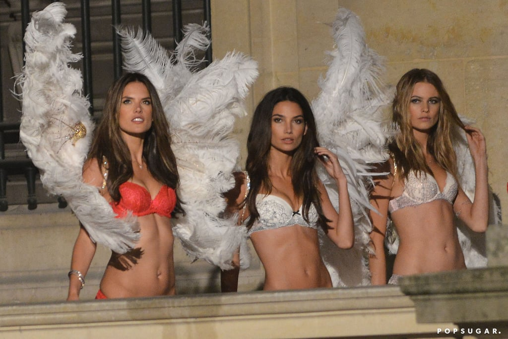 Alessandra Ambrosio, Lily Aldridge, and Behati Prinsloo filmed a scene at the Louvre.