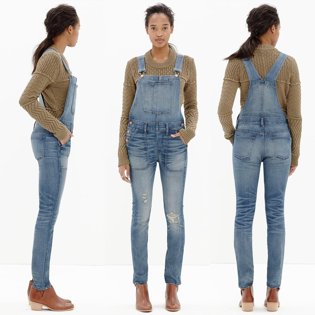 The overalls we tried on are the Madewell Skinny Overalls in Adrian Wash. These are stretchy yet structured, and they've been hand-distressed. Here's how they appear on the Madewell model.