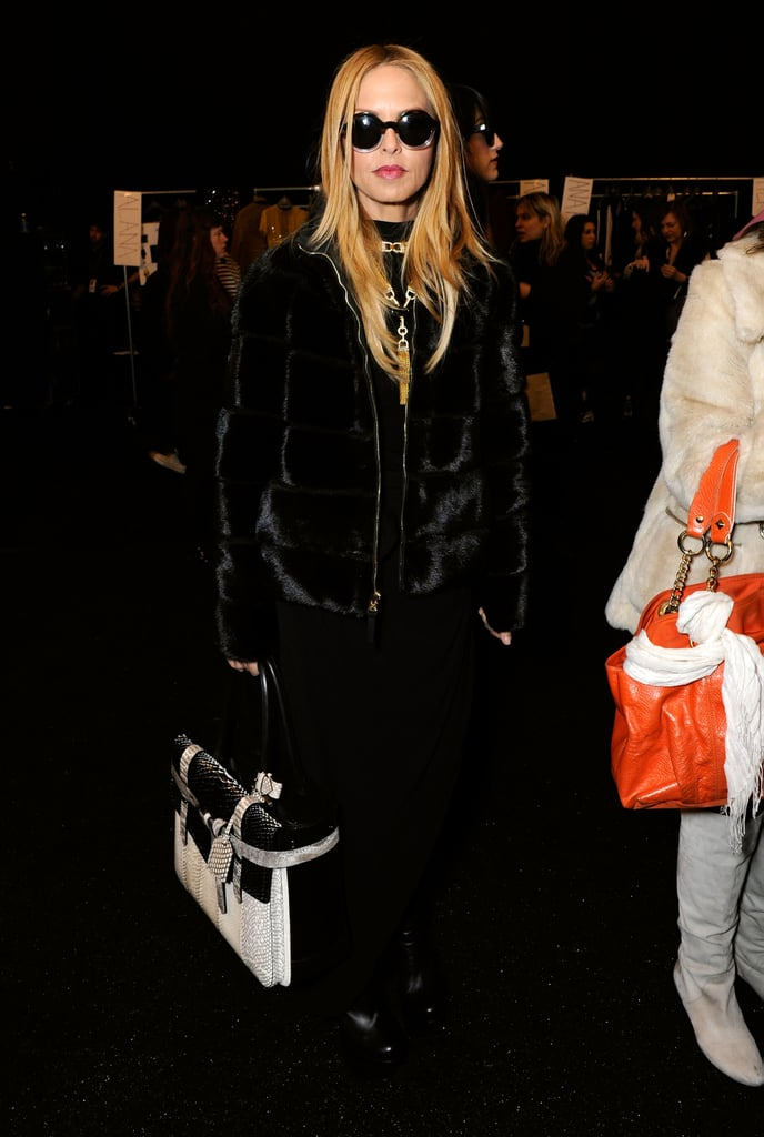 Rachel Zoe spotted in an all-black ensemble and oversized sunglasses at the Diane von Furstenberg show.