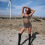 Romee Strijd Wore a Mesh Minidress With a Black Victoria's Secret Bra