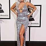 For the 2015 Grammys, Gaga bared skin in a sparkly silver dress by Brandon Maxwell.