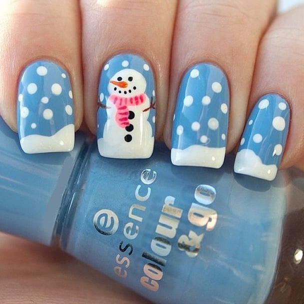 This adorable snowman is only one of many holiday nail art ideas we ...