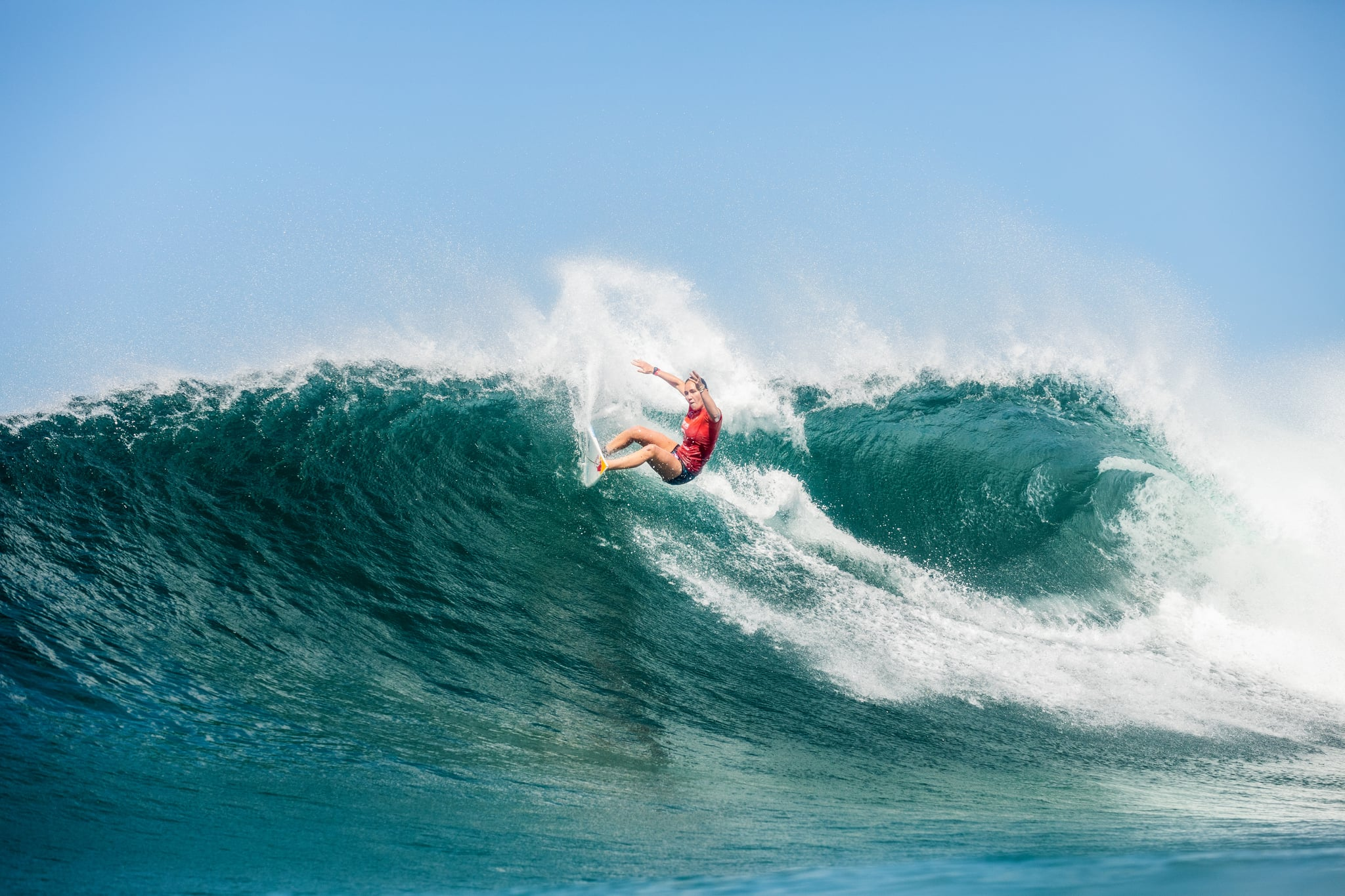 NEWCASTLE, AUS - APRIL 10: Four-time WSL Champion Carissa Moore of Hawaii surfing in Heat 3 of the Semifinals of the Rip Curl Newcastle Cup presented by Corona on April 10, 2021 in Newcastle, Australia. (Photo by Cait Miers/World Surf League via Getty Images)