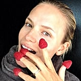 Natasha Poly sported a true raspberry-colored manicure. Source: Instagram user natashapoly