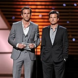 The Change-Up costars Ryan Reynolds and Jason Bateman presented a statue during the show.