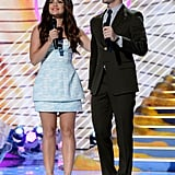 Hosts Lucy Hale and Darren Criss spoke on stage at the Teen Choice Awards.