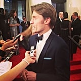 Nikolaj Coster-Waldau stopped to chat with the media before heading into the fashion event. Source: Instagram user popsugar