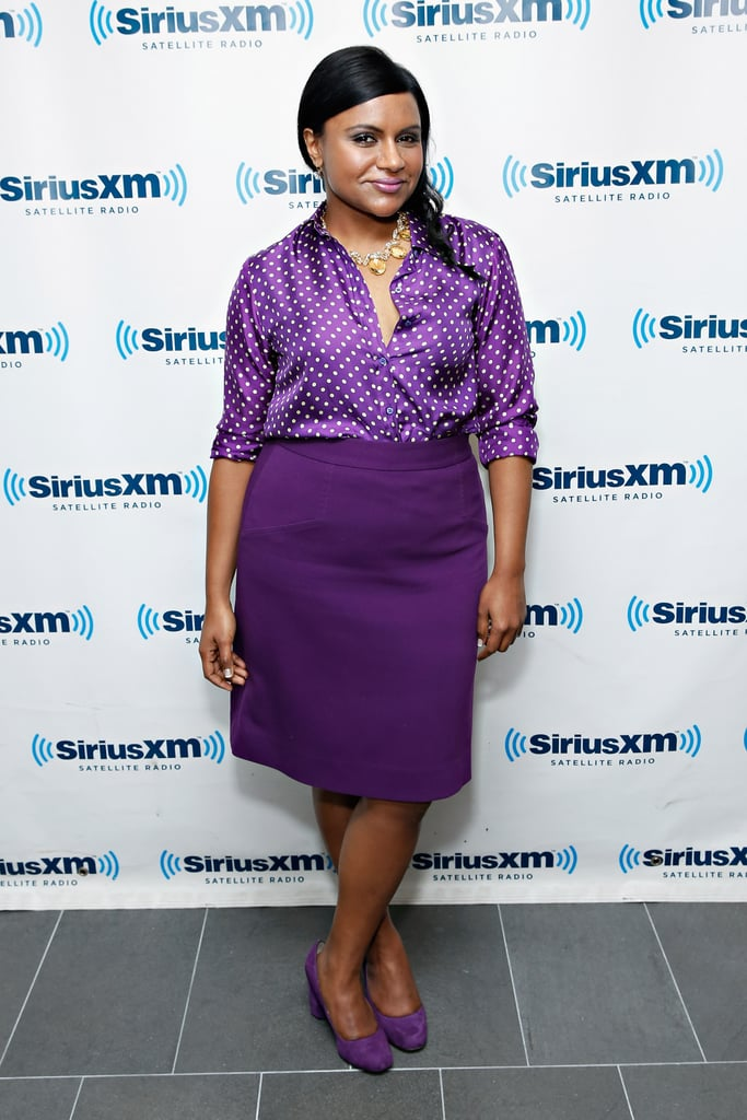 She kept it all in the same color family for a visit to SiriusXM Studios in shades of purple.