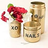 Gold Glass Jar Organizers