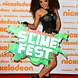 Jadagrace posed with the Slimefest sign and brought some cool style to the red carpet before hitting the stage.