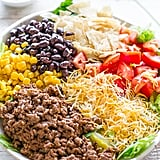 Loaded Beef Taco Salad With Creamy Lime Cilantro Dressing