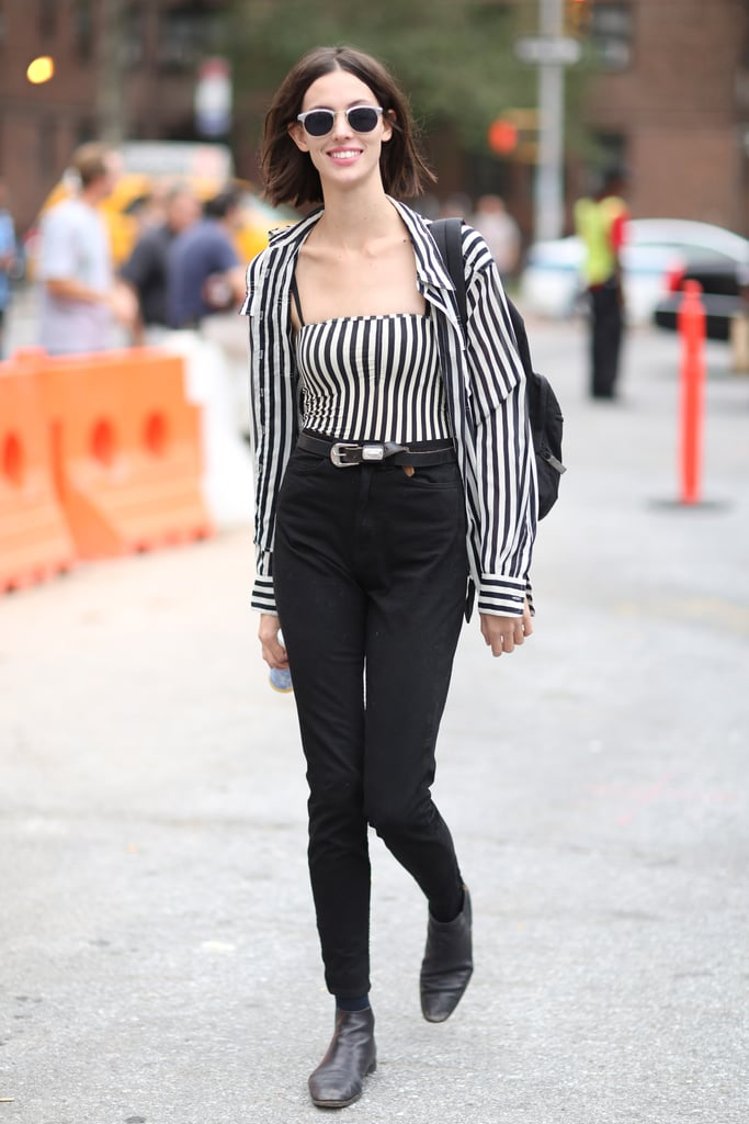 Stripes on stripes were just a little punky against high-waisted black denim. Source: Greg Kessler