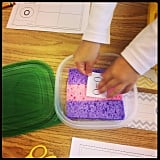 To avoid glue puddles, pour glue over a wet sponge inside a container.