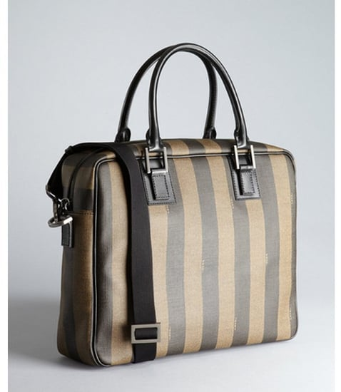 Fendi tobacco logo striped coated canvas convertible briefcase