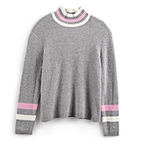 Striped Mockneck Sweater in Heather Gray