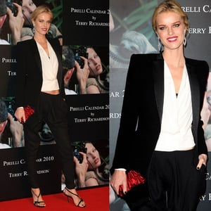 Model Eva Herzigova in Black and White Suit at 2010 Pirelli Calendar Cocktail Reception in London