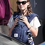Natalie Portman took her son Aleph Millepied to a synagogue service in LA.