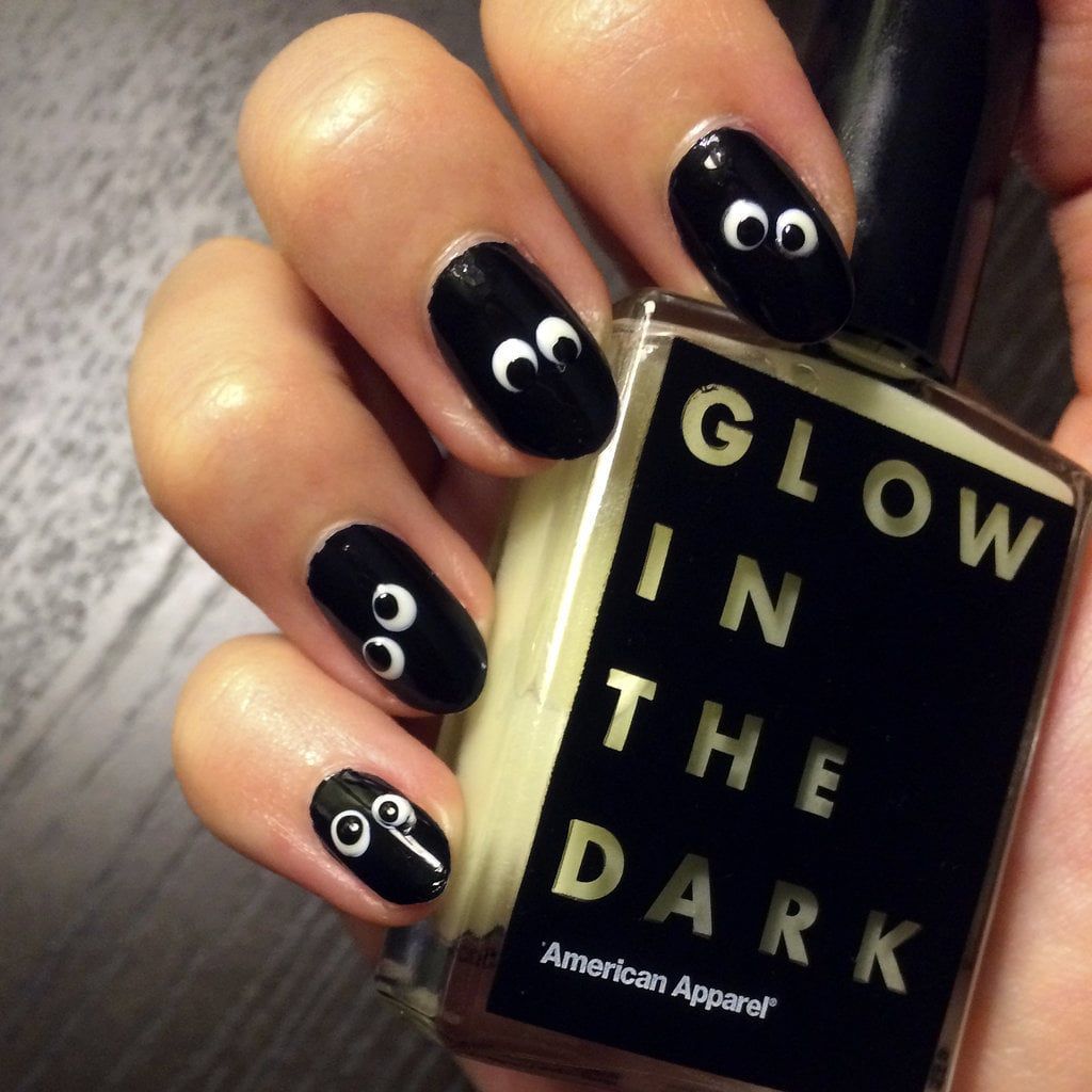 Diy Your Own Googly Glow In The Dark Halloween Nail Art Popsugar
