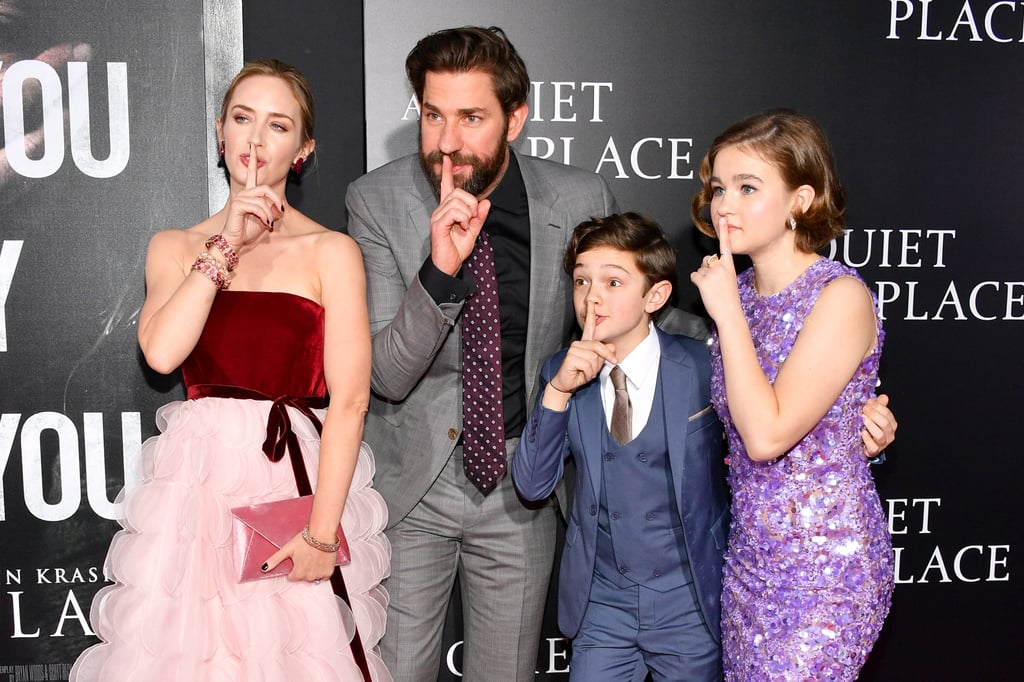 "John Krasinski and Emily Blunt stepped out for the NYC premiere of their new horror film, A Quiet Place, on Monday night. The couple was all smiles as they met up with their onscreen kids, Noah Jupe and Millicent Simmonds, and struck a few playful poses for photographers — how gorgeous is Emily's Oscar de la Renta gown? Also in attendance for the glamorous night out were Emily and John's friends, Blake Lively and Ryan Reynolds, who shared their own sweet moment on the red carpet.       Related:                                                                                                           John Krasinski Gushing About Wife Emily Blunt's ""Superpower"" Proves He Really Is Her Biggest Fan               This is the first time John and Emily have starred together in a film, and their endeavor is not exactly for the faint of heart: in the thriller (which hits theaters April 6), they star as a family of four living in a remote farmhouse. One of their children shatters a glass, and things are pretty much a living nightmare from there. Luckily, Emily and John are far less of a nightmare in these premiere pictures."