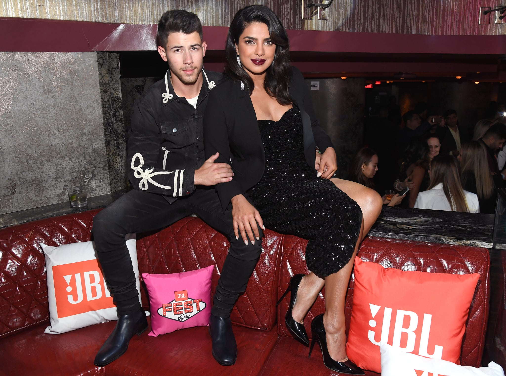 LAS VEGAS, NEVADA - OCTOBER 10: Surprise guest Nick Jonas, left, and Priyanka Chopra Jonas attend CLUB JBL, one of the many events during the 3rd annual JBL Fest, an exclusive, three-day music experience hosted by JBL at  at Jewel Nightclub at the Aria Resort & Casino on October 10, 2019 in Las Vegas, Nevada. (Photo by Kevin Mazur/Getty Images for JBL)