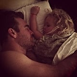 James Van Der Beek took a sweet nap with his daughter, Olivia. Source: Instagram user vanderkimberly