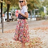 Style Them With a Floral Skirt and a White Tee