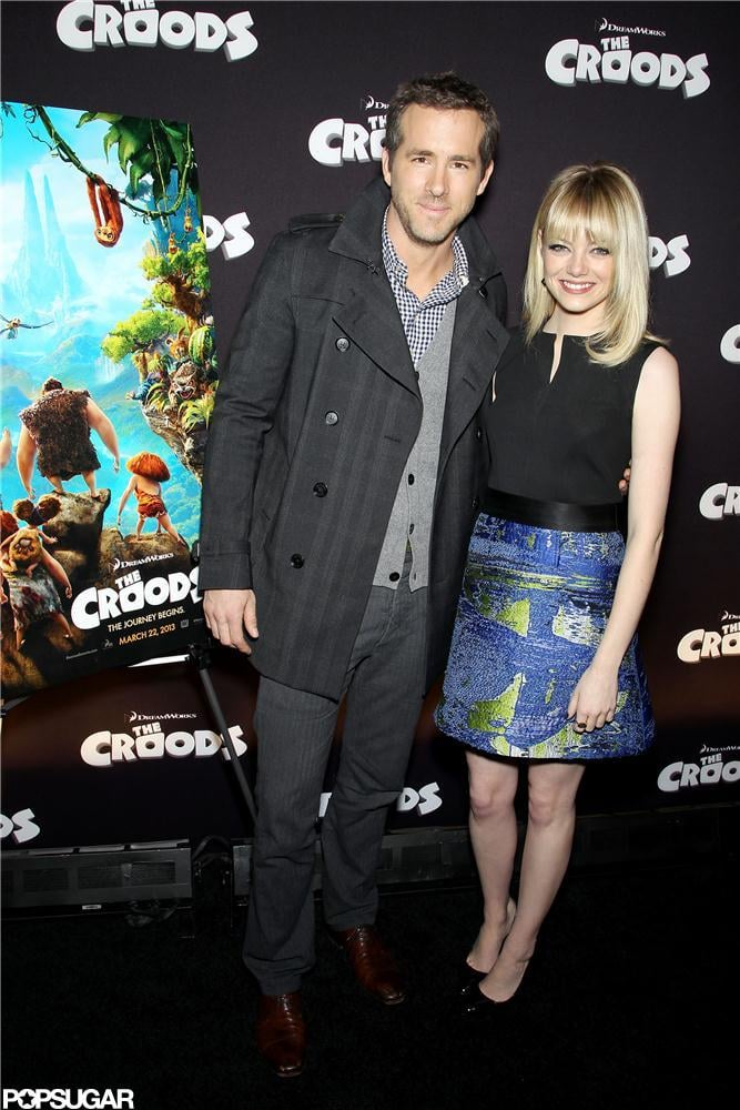 Ryan Reynolds and Emma Stone got together to kick off promotions for their animated project, The Croods, in NYC last night. The movie isn't expected in theaters until March 2013, but the event was part of a DreamWorks and 20th Century Fox presentation of its upcoming films. Ryan suited up for the photo op after returning from Paris with wife Blake Lively earlier this week. Ryan and Blake showed PDA during their French getaway. We'll see more Blake and Ryan affection on Christmas Eve, when their wedding photos debut in Martha Stewart Weddings. Emma, meanwhile, has been busy in the Big Apple. She attending a Revlon event Wednesday, and celebrated a friend's birthday at the Crosby Street Hotel last night with new couple Taylor Swift and Harry Styles.