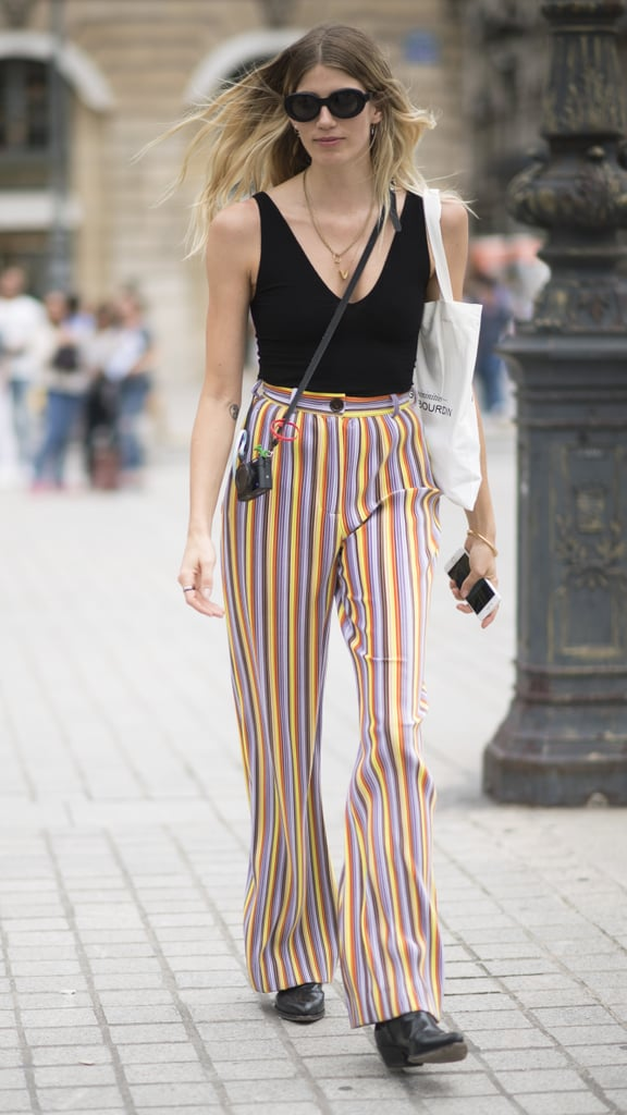 Keep the top neutral and the bottom flashy with a pair of colorful pinstripe pants.