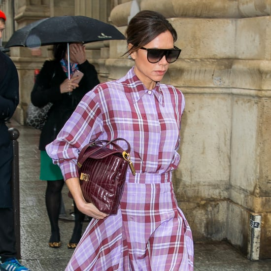 Victoria Beckham Wearing Purple Plaid Outfit With Red Boots