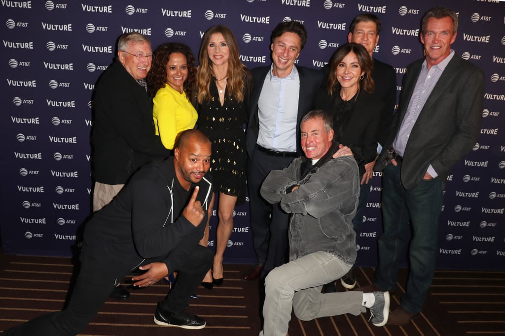"""It's a Scrubs reunion! The main cast of the medical comedy looked so happy to be reunited on Saturday at the 2018 Vulture Festival in LA, eight years after the show ended. Stars Zach Braff, Donald Faison, Sarah Chalke, Judy Reyes, and more participated in a panel discussion for the festival, and, yep, the topic of a reboot came up. According to The Hollywood Reporter, series creator Bill Lawrence has reservations about a revival.  """"I would do anything to get to work with not only this group (but the entire crew) . . . it was the best time in my life,"""" Lawrence said. But """"sometimes reboots — not all the time — feel like a money grab."""" While a full episodic revival may not be in the cards for Scrubs, Lawrence did admit a """"short movie"""" could work best. There's still hope! Keep your finger crossed and keep reading to see more photos of the exciting reunion ahead.       Related:                                                                                                           Great Scott! Michael J. Fox and Christopher Lloyd Had a Sweet Back to the Future Reunion"""