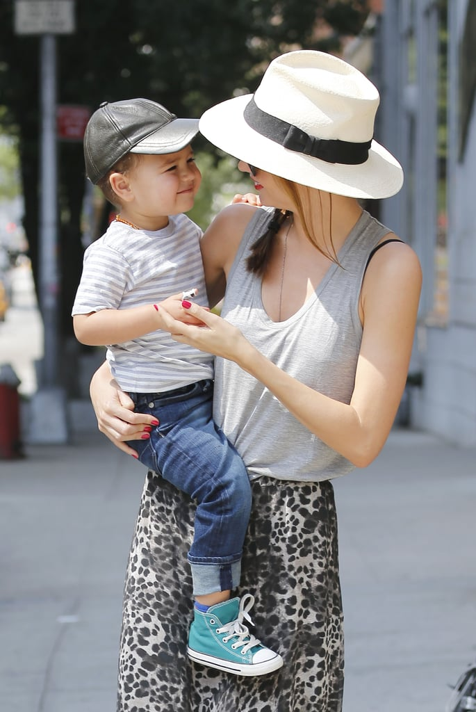 Miranda Kerr spent a sunny morning with her son, Flynn Bloom, in NYC yesterday. It looks like Flynn may be taking tips from his model mum as he showed his big smile for the cameras during their stroll. The duo were out in the Big Apple following her whirlwind trip to South Korea last week. On Wednesday, Miranda made a promotional stop at a department store in Seoul, and on Thursday she showed off her athleticism by throwing out an honorary pitch during a baseball game. Miranda and Flynn will have a bit of bonding time to spend together in the Big Apple since Orlando Bloom will be busy with his new Broadway gig. Orlando is set to make his Broadway debut later this year in Romeo and Juliet, which begins previews on Aug. 24. Along with his stage duties, he'll also be hitting big screens in the next Hobbit instalment — check out the new trailer for The Hobbit: The Desolation of Smaug!
