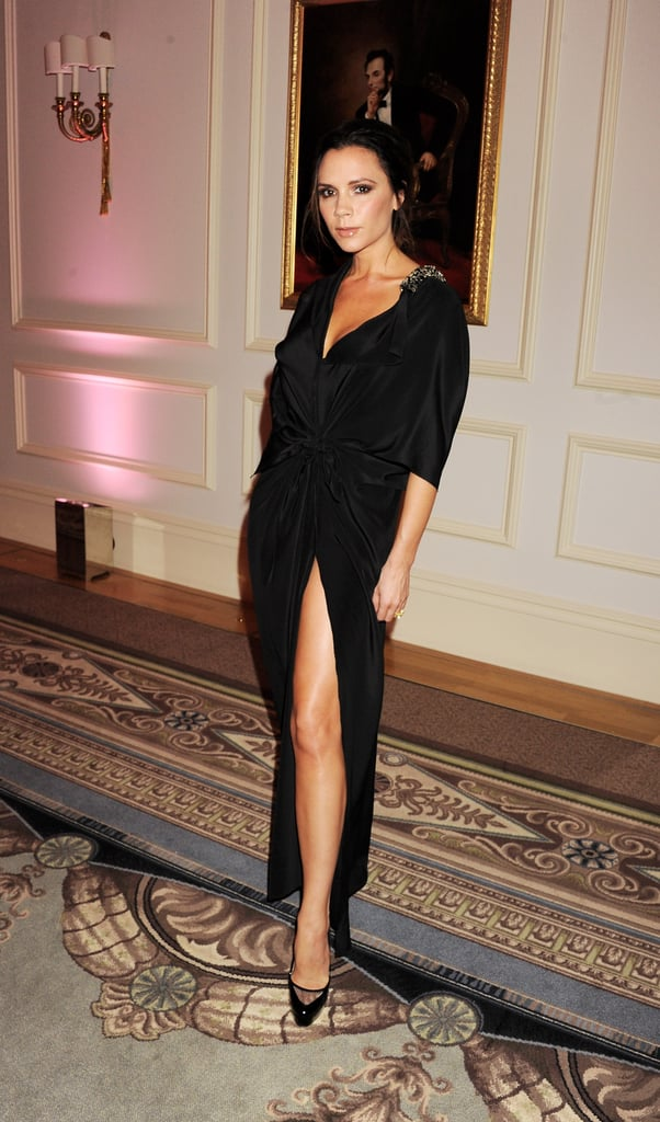 Wearing a Long-Sleeved Gown With a Thigh-High Slit From Her Collection