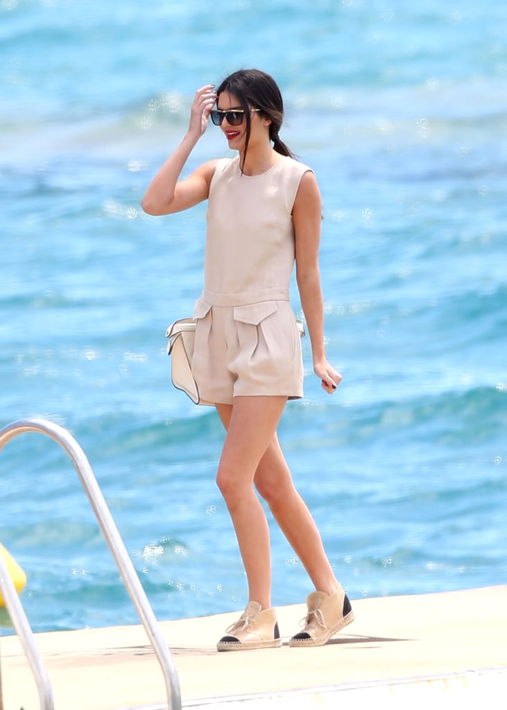 Kendall played around with friends at the Martinez Hotel beach on Thursday.