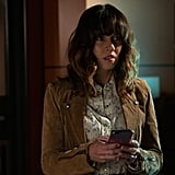 Judy's Suede Jacket and Floral Button-Up Shirt on Dead to Me