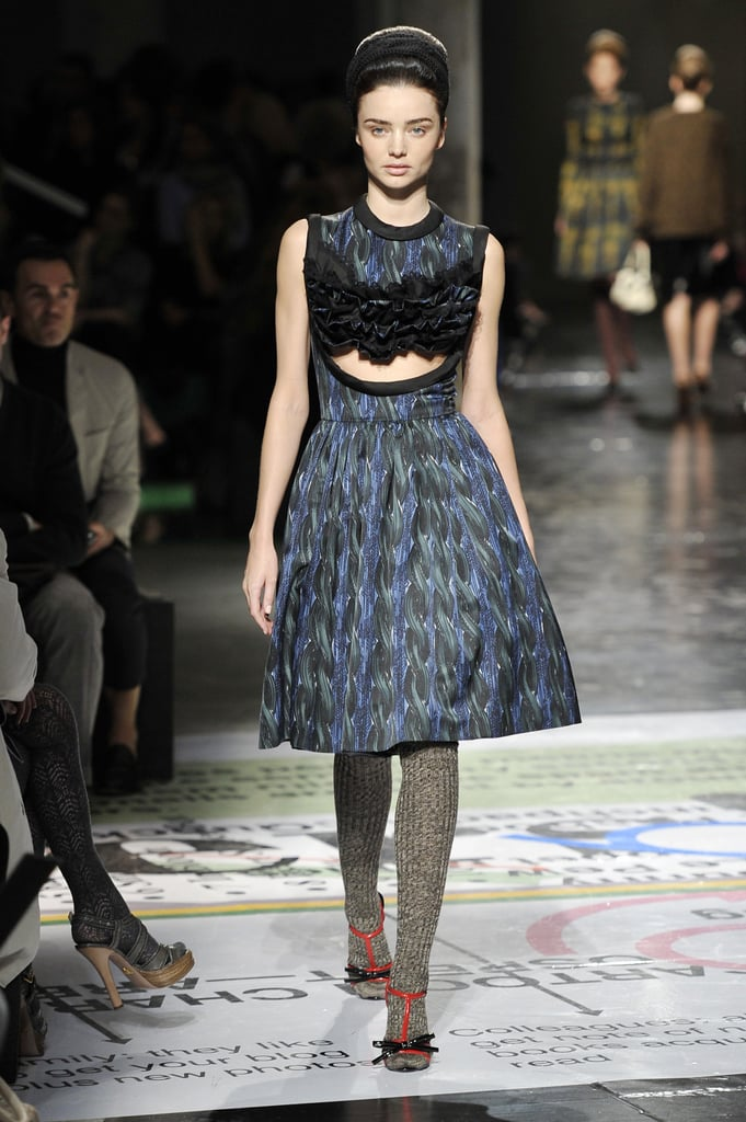 In a high-fashion moment, Miranda turned heads three years later during Milan Fashion Week at the Prada Fall 2010 show. The surprising appearance foreshadowed her spot in that season's campaign.