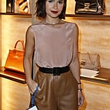 At Fendi's Avenue Montaigne store opening, Miroslava Duma paired neutrals effortlessly.  Source: