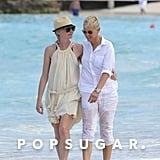 Ellen DeGeneres and Portia de Rossi took a romantic walk on the beach during a St. Barts getaway in December 2012.