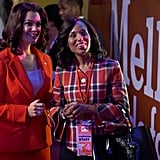 In plaid on the campaign circuit with Mellie Grant.