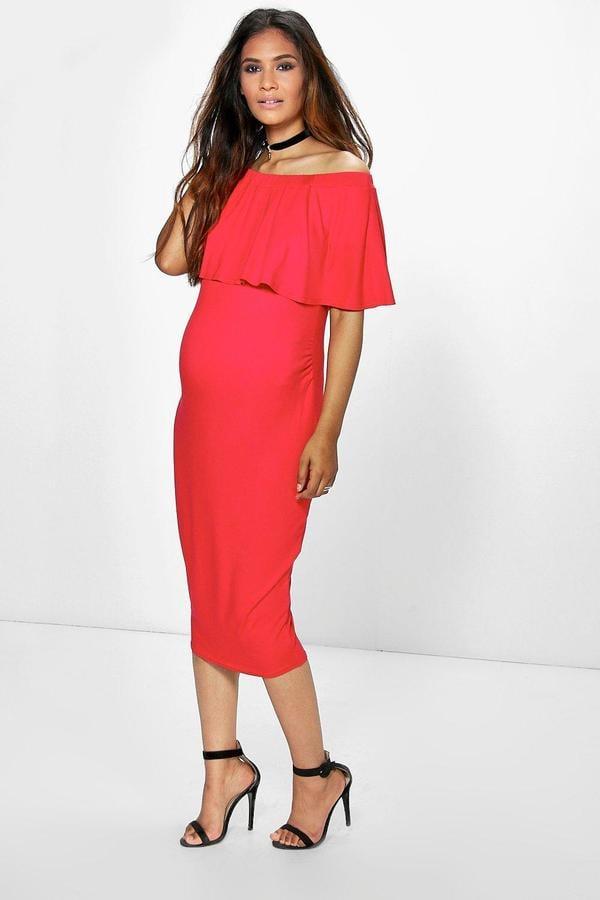 4e46fe95409ac Boohoo Maternity Eva Midi Dress | Cute Maternity Clothes From Boohoo ...