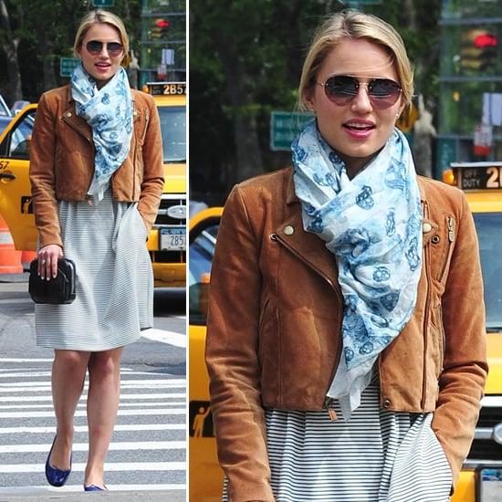 Dianna Agron Cropped Brown Leather Jacket   POPSUGAR Fashion