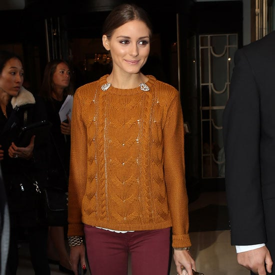 Olivia Palermo Wearing Striped Red Pants